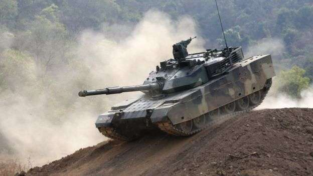泰國今年1月測試新購的中國制VT4主戰坦克。(BBC中文網)