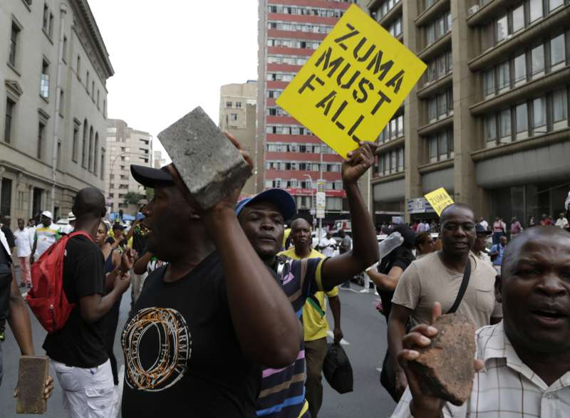 南非總統祖馬執政9年貪腐不斷,南非經濟大倒退引發高度民怨。(美聯社)