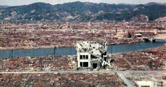 遭到原子彈襲擊後的廣島一片廢墟。(圖/澎湃新聞提供)