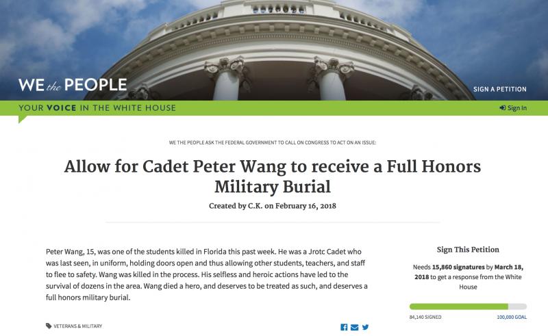 美國民眾在白宮請願網站連署,要求政府同意為王孟傑舉行軍禮榮葬。