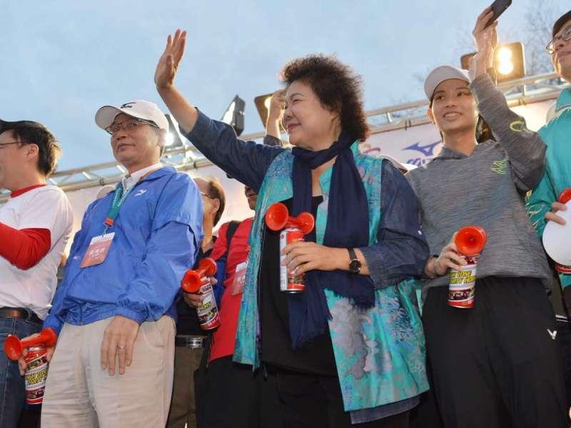 20180225-高雄市長陳菊25日出席高雄國際馬拉松。(取自陳菊臉書)