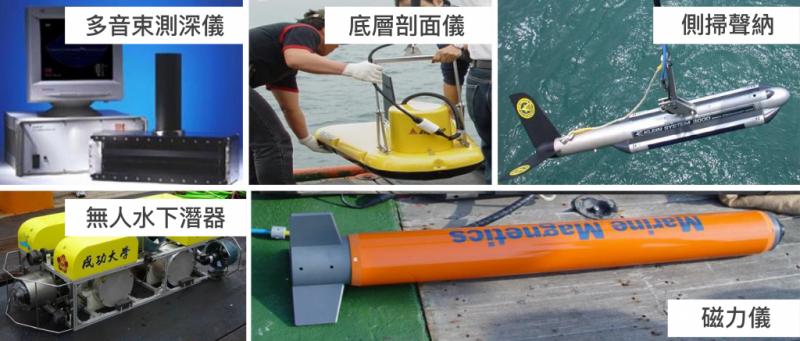 水下考古隊使用的各種水中探測儀器。(圖/臧振華,研之有物提供)