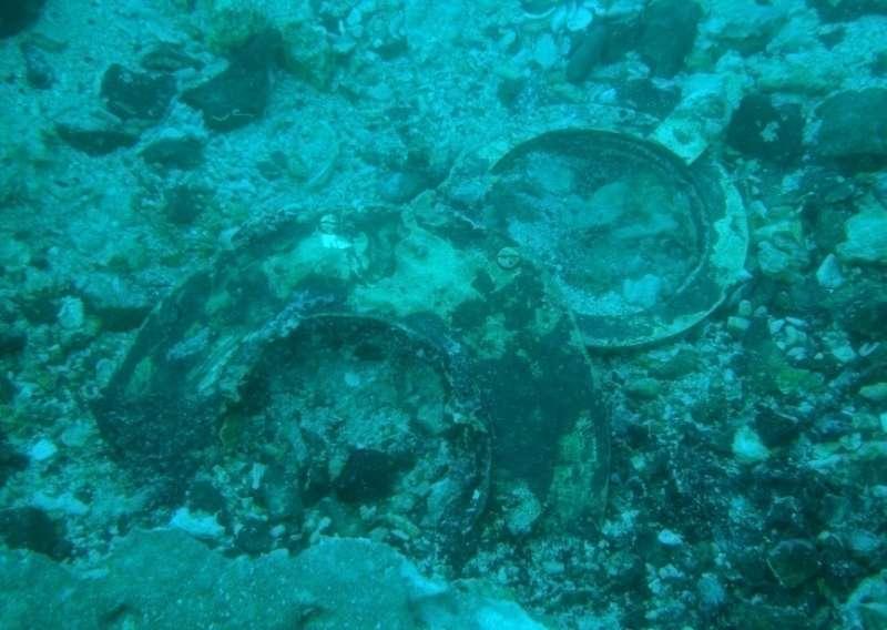 英國籍蒸汽輪船布哈拉號 (SS Bokhara),水中殘骸已經被海砂及珊瑚礁覆蓋。(圖/臧振華,研之有物提供)