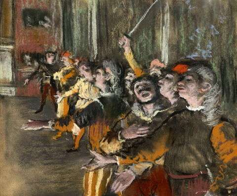 竇加(Edgar Degas)《合唱歌手》 (Les Choristes或The Chorus Singers,1877)。(圖/wikimedia commons)