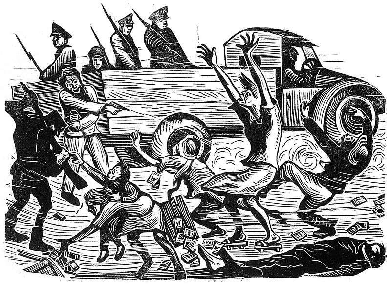 畫家黃榮燦曾以版畫《恐怖的檢查》對二二八事件受難者表示同情,並在數年後被情治人員逮捕、羅織叛亂罪名處死(圖/wikimedia commons)