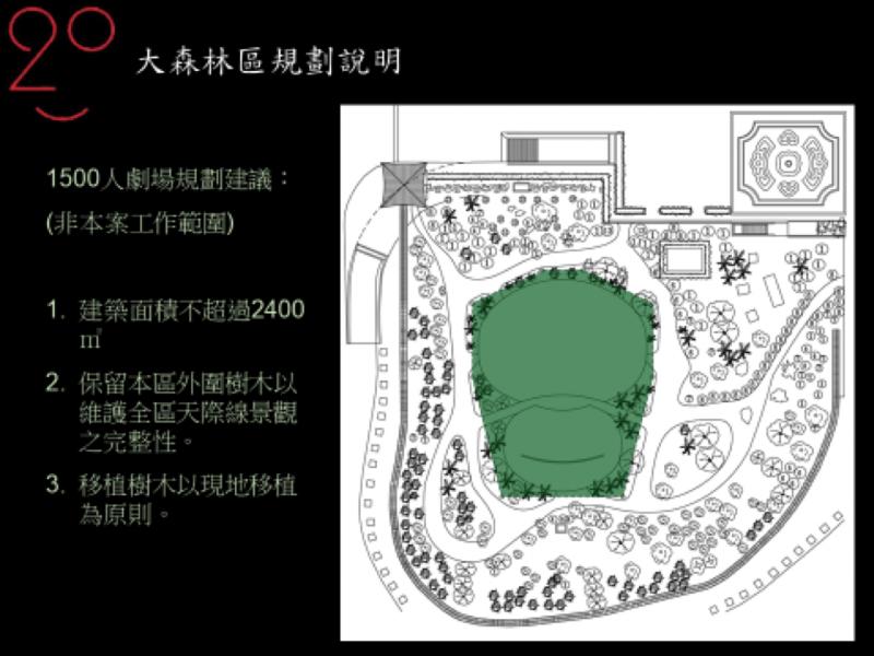 臨時劇場配置圖綠化面積相當完整。(作者楊其文提供)