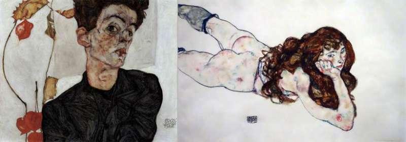 (左)埃貢•席勒肖像畫,(右)埃貢•席勒擅長描繪扭曲的人物和肢體。(圖/(左) Wikimedia Commons,(右) Mike Steele@ flickr)