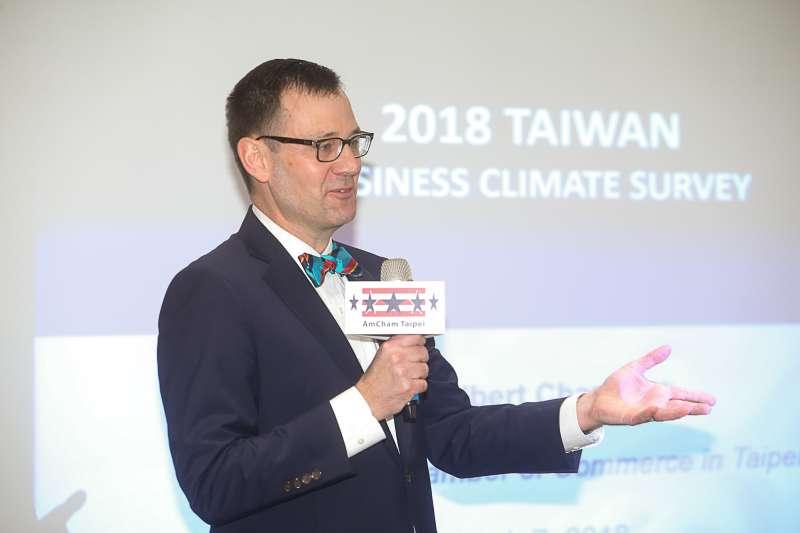 台北市美國商會執行長傅維廉(William Foreman),台北市美國商會《2018商業景氣調查》記者會。(陳明仁攝)