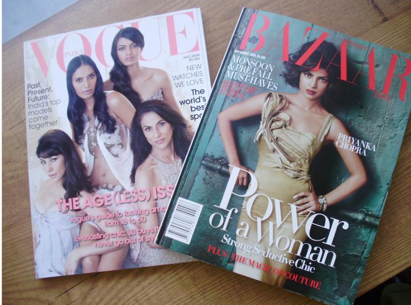 20170308-印度版時尚雜誌:VOUGE與 BAZAAR,全英文編輯,全西方手法,若非封面人物都是印度明星,內頁商品也別具印度風情,一般人幾乎無法看出這是印度女性雜誌。(作者提供)