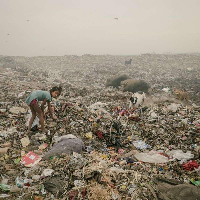 在德里巴爾斯瓦,這個垃圾場綿延了數公里,一個小女孩正在其中尋找塑料。(圖/言人文化提供)