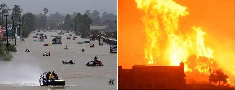 圖3。左: 颶風哈維在美國德州肆虐近5天;右:加州野火在卡平特里亞市吞噬多處民宅。(美聯社)