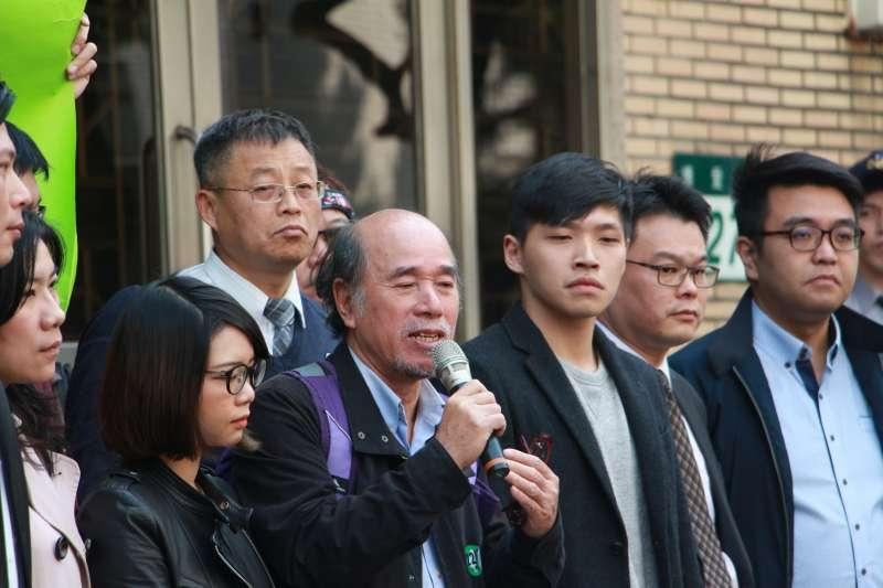 20180313-「318反黑箱服貿運動,佔領立法院案-二審宣判記者會」,蔡丁貴教授發言。(陳韡誌攝)