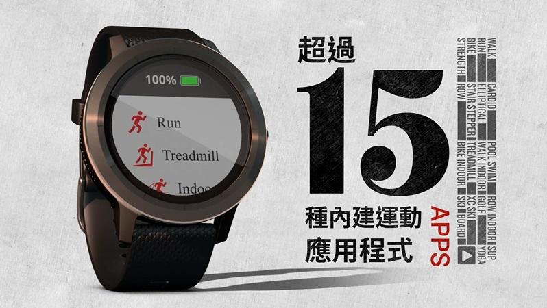 VÍVOACTIVE® 3 超過15種預載GPS以及室內運動應用程式,包括瑜珈、跑步、游泳以及更多運動項目,不需調整便能自動辨識運動類型,並可於 Garmin Connect™ 上查看所有日常活動的活動軌跡。(圖/Garmin)