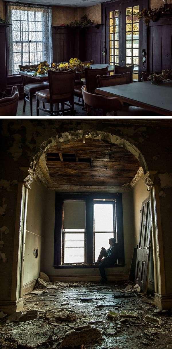 修復前的尤寧維爾鄉村驛站(上圖)與斯蒂爾莊園(下圖) (圖/澎湃新聞提供)
