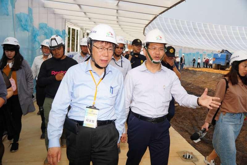 20180325-台中市長林佳龍與台北市長柯文哲參觀台中花博園區。(盧逸峰攝)