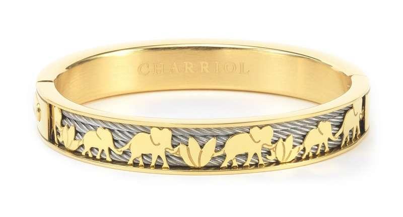 ELEPHANT FOREVER備有玫瑰金及黃金色以供選擇,標誌性的雙絞鋼索上框有精緻的大象及蓮花剪影圖案(售價$14,500元)(圖/夏利豪提供)