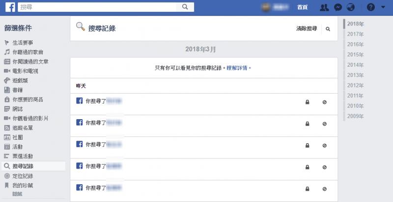 從Facebook個人頁面的「查看活動紀錄」可見,在Facebook上的活動都會被記錄,左欄甚至可見到定位紀錄。(圖/Facebook)