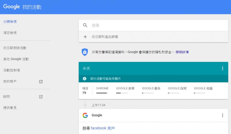 經常使用Google Chrome的用戶,可以在點按「我的帳戶」中的「我的活動」,觀看自己被記錄下的行為。(圖/Google)