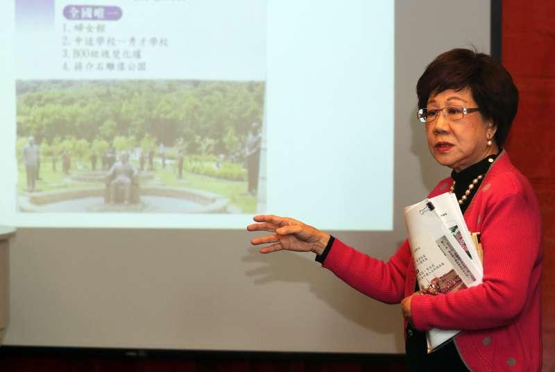 20180328-前副總統呂秀蓮上午召開舉行「328傳奇」記者會,會中分享人生中在3月28日碰到的點滴,以及擔任桃園縣長任內的各項政績。(蘇仲泓攝)