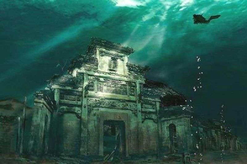淹沈水底的淳安古城。