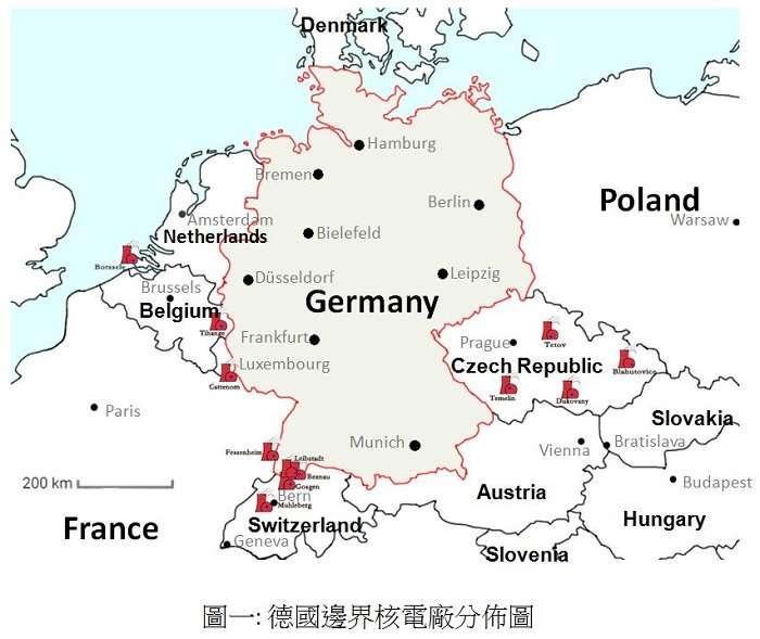 德國邊界核電廠分布圖,