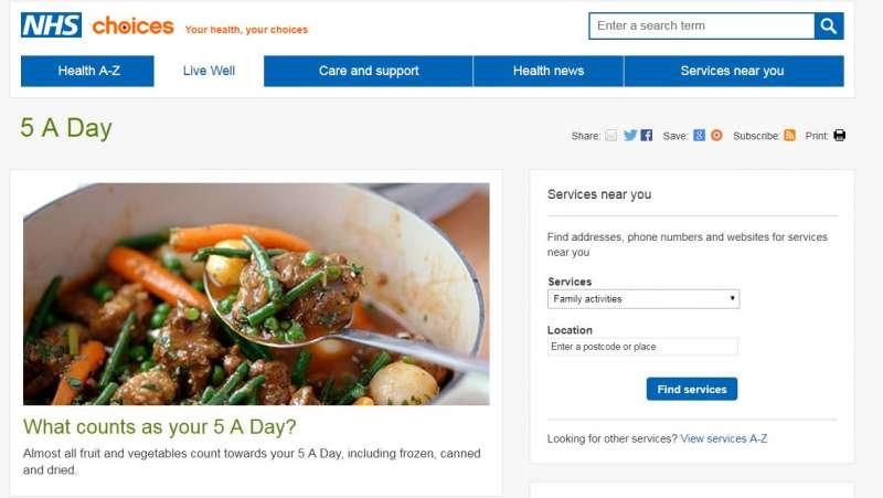 英國國家醫療服務體系網站上推廣「一日五蔬果」。(取自www.nhs.uk)
