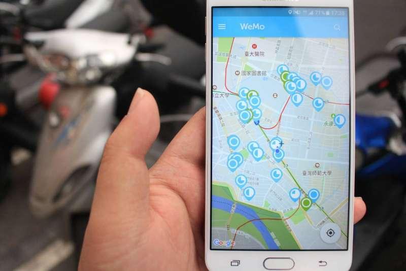 共享機車Umotor上路1年多 1000輛電動機車遍及北市11區,合作廠商是WeMo Scooter。(方炳超攝)