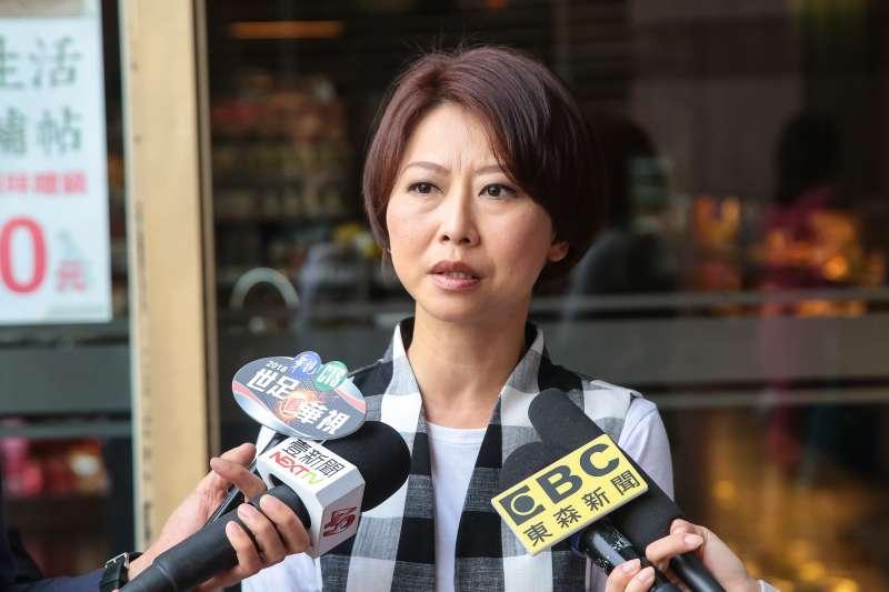 20180411-民進黨立委陳亭妃11日於民進黨中執會後接受媒體聯訪。(顏麟宇攝)