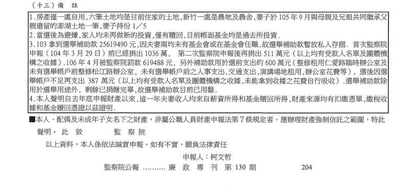 2018-04-16-監察院130期廉政專刊,台北市長柯文哲備註欄。(取自監察院網站)