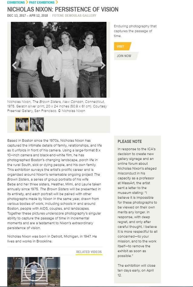 波士頓當代美術館展覽「尼古拉斯·尼克森:影像的堅持」官網截圖。(圖/取自ICA,非池中藝術提供)