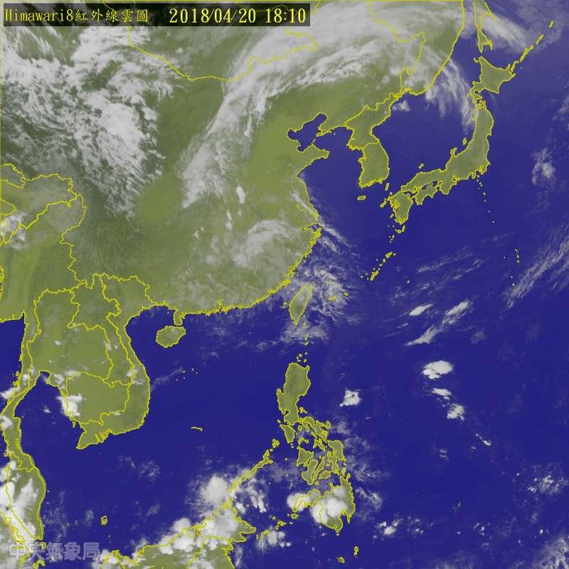 20180420-中央氣象局指出,明(21)日起將有一連2天的好天氣,但23日,24日起中部以北地區天氣轉為不穩定。(取自中央氣象局)