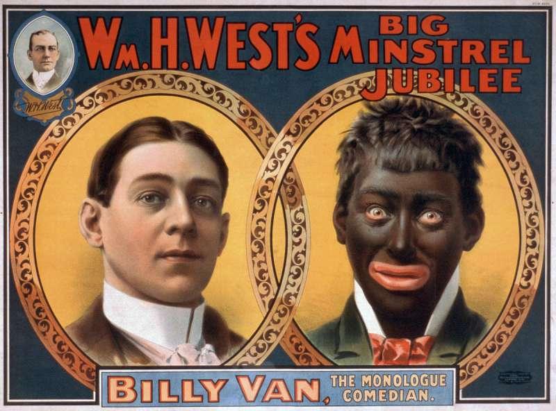 1900年的黑臉(Blackface)喜劇表演海報。(維基百科公有領域)