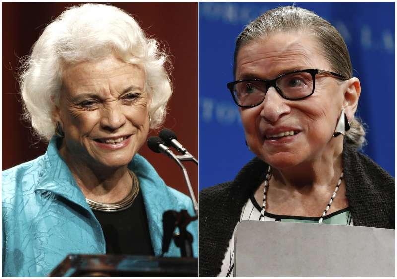 美國史上首位女性大法官歐康納(Sandra Day O'Connor)(左)和第二位女大法官金斯堡(Ruth Bader Ginsburg)。(美聯社)