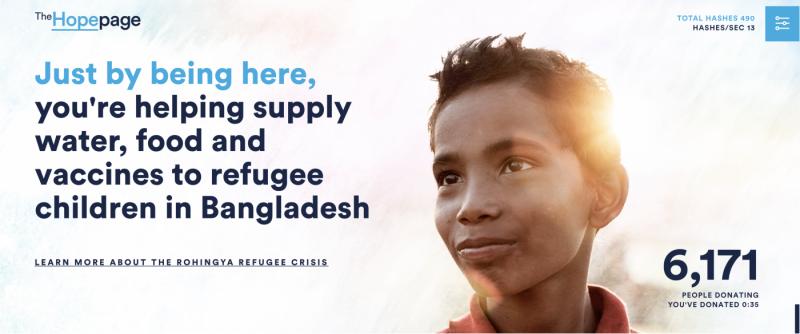 聯合國兒童基金會推出的數位貨幣挖礦捐款官網,至今已有超過6千人用此方式捐款。 (圖/The Hopepage)