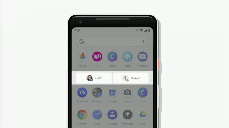 Android P在App列上會列出預測的執行動作,給予用戶更直覺的使用體驗。(圖/取自Google I/O)