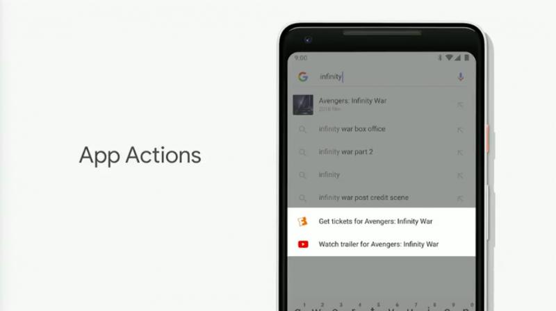 App Actions讓用戶在手機各處快速開啟App,包含搜尋、App列等,省去許多步驟。(圖/取自Google I/O)