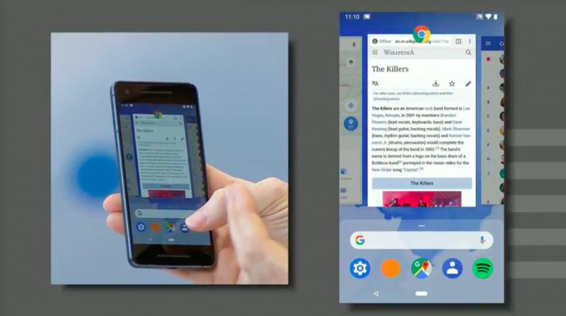 Android P強調手勢優先按鍵,新系統介面操作方式刪去過去的功能鍵形式。(圖/取自Google I/O)