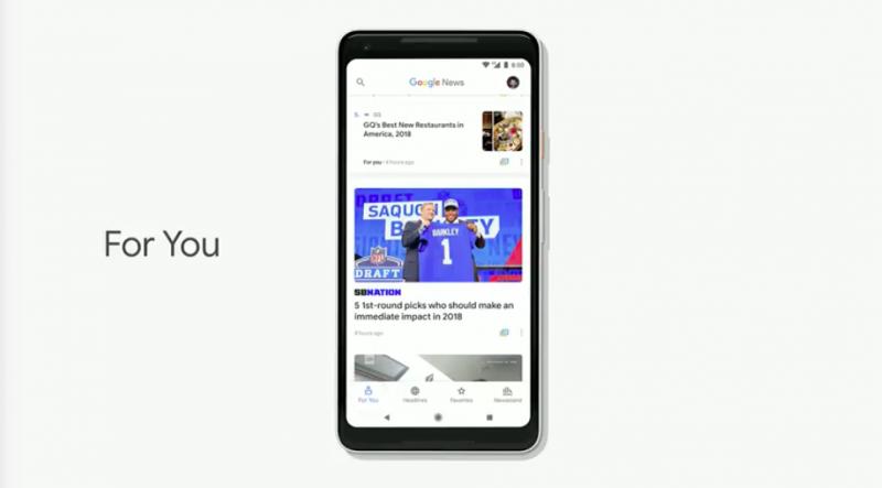 Google News運用AI,推薦每日大事、新聞話題給用戶。(圖/取自Google I/O)