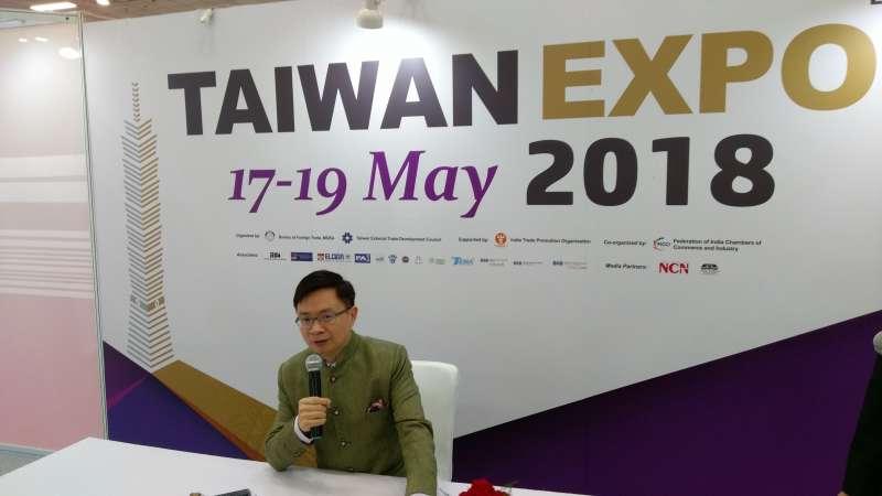 黃志芳出席印度台灣形象展開幕式前記者會。(張家豪攝)