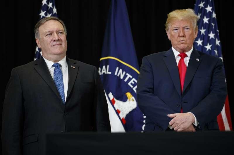 美國國務卿龐畢歐與總統川普。(AP)