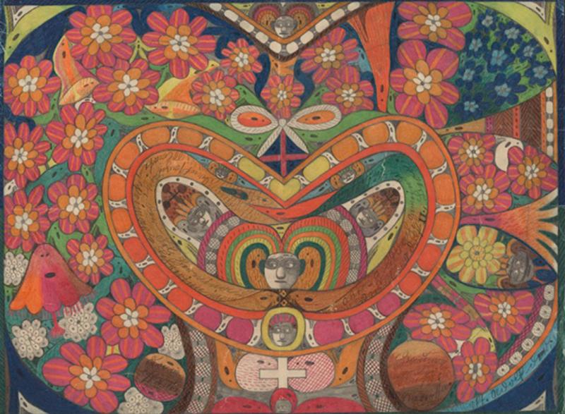 被囚禁在精神病院內的偉大藝術家阿道夫·沃勒弗利,作品《玫瑰花冠》,收藏於洛桑原生藝術博物館。(圖/取自Collection de L'art Brut,澎湃新聞提供)
