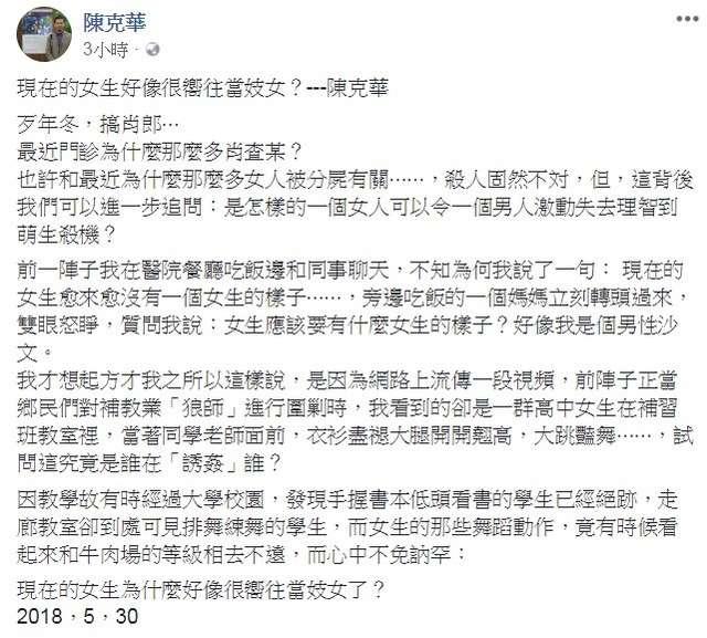 2018-05-30 醫生作家陳克華於臉書發表文章「現在的女生好像很嚮往當妓女?」引發爭論(擷自陳克華臉書、取自蘋果日報)