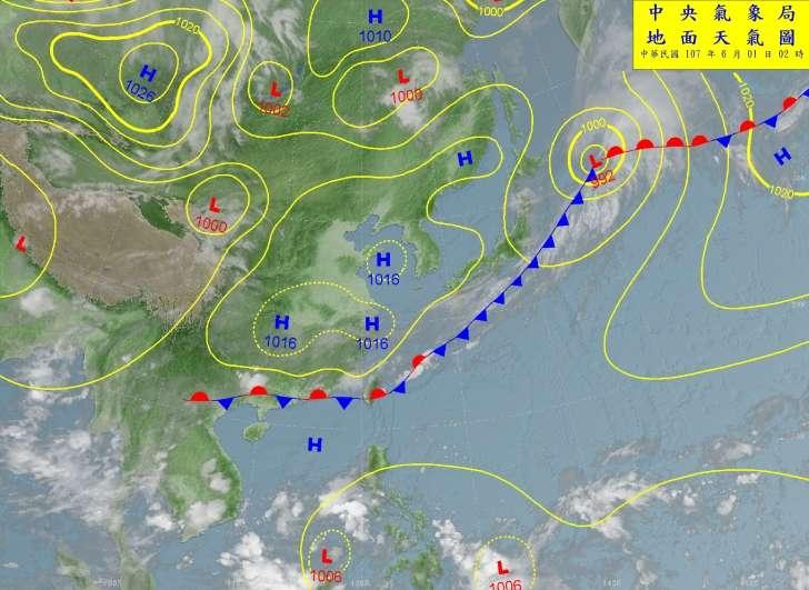20180601-氣象局預估,這波鋒面將影響台灣到週一(4日),之後氣溫又會回升。(取自中央氣象局)
