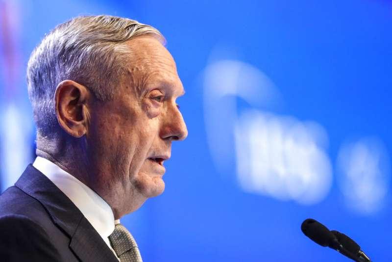 2018年6月2日,美國國防部長馬提斯在新加坡舉行的「香格里拉對話」發表演說,抨擊中國在南海的軍事行動是在破壞南海和平。(AP)