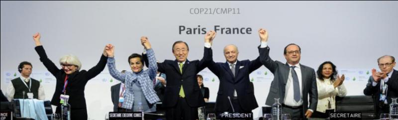 WTFlaFUUUUUUU—圖一:巴黎協定通過情景。(取自UNFCCC)