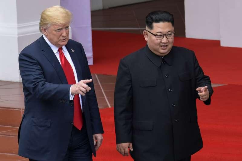 2018年6月12日新加坡川金會,金正恩與川普相談甚歡(AP)