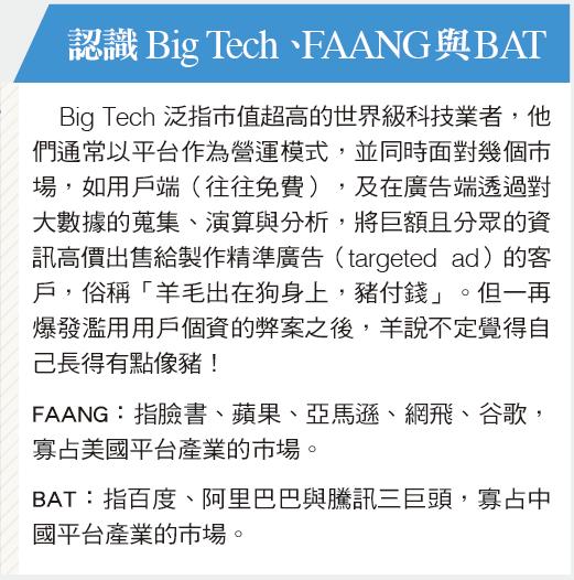 2018-06-13銀行家觀點 監管Big Tech趨勢 影響AI發展圖1 認識BigTech、FAANG與BAT (作者提供)