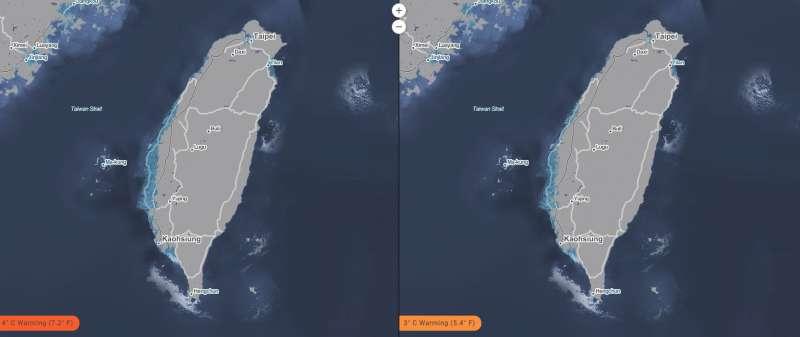 台灣海平面上升模擬圖,左為平均氣溫上升攝氏4度、右為平均氣溫上升攝氏3度。(取自「Surging Seas」網站)