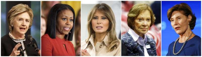 左起分別為希拉蕊、蜜雪兒、梅蘭妮亞、羅莎琳、蘿拉。(AP)