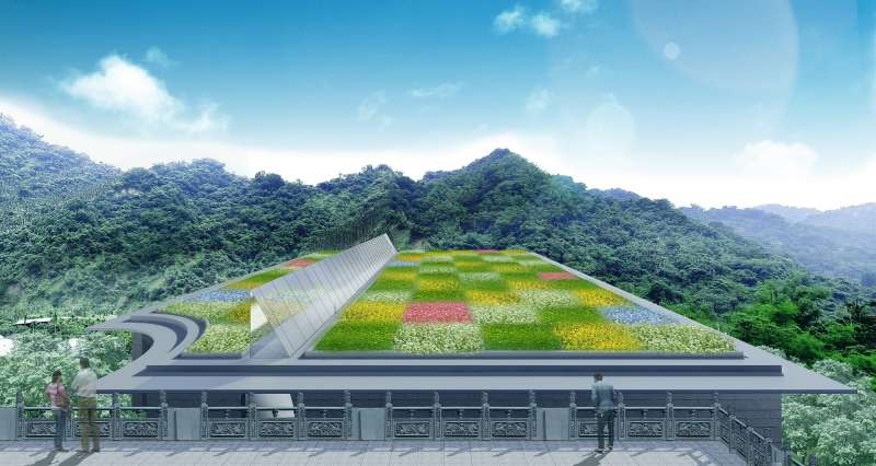 從舊有塔區望向光之映象建築物屋頂,就能看見大量方塊狀的花卉景觀。(此為3D示意圖,請以實品為主)